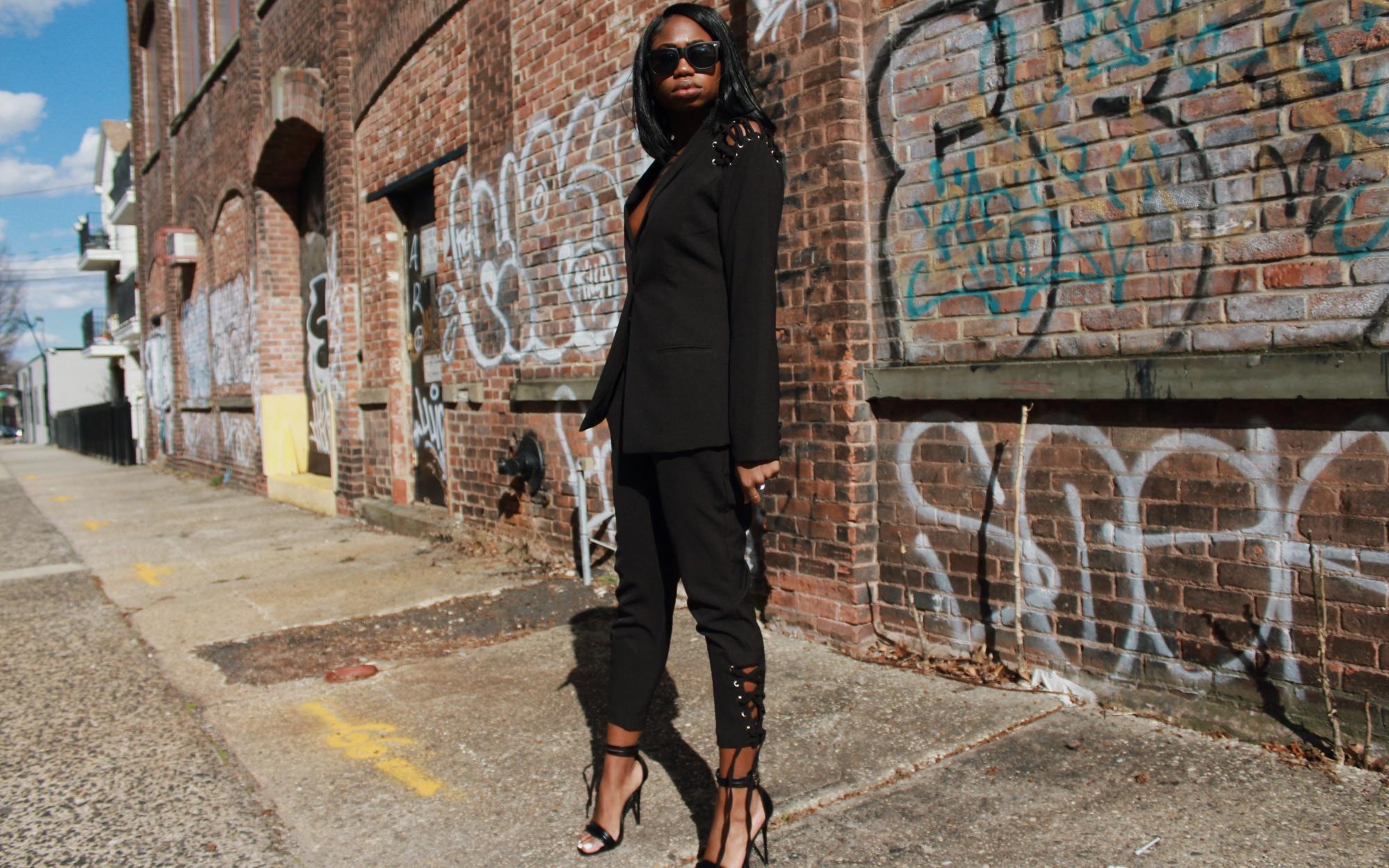 women's tailored black suit