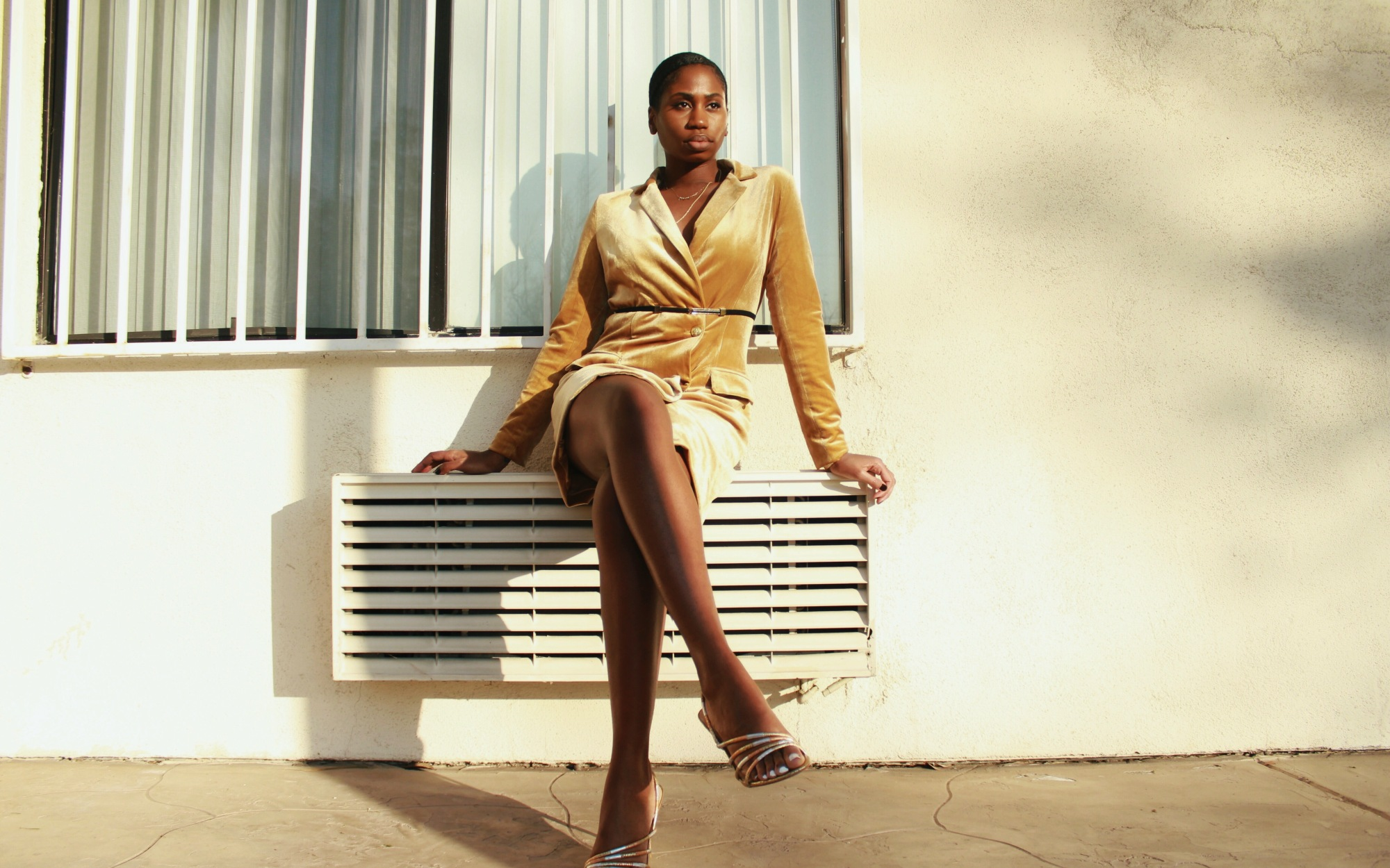 Gold Blazer Dress